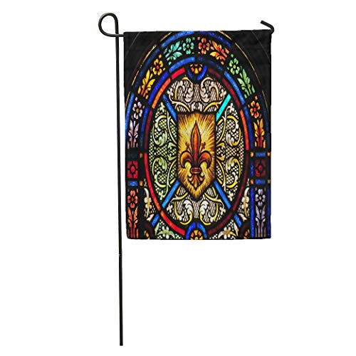Nfuquyamluggage Garden Flag Blue Chapel Stained Glass Window Fleur De Lis Symbol Green Home Yard House Decor Barnner Outdoor Stand 12x18 Inches Flag