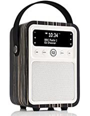 VQ Monty DAB & DAB+ Digital Radio with FM, Bluetooth & Alarm Clock – Real Wood Case Black Zebra