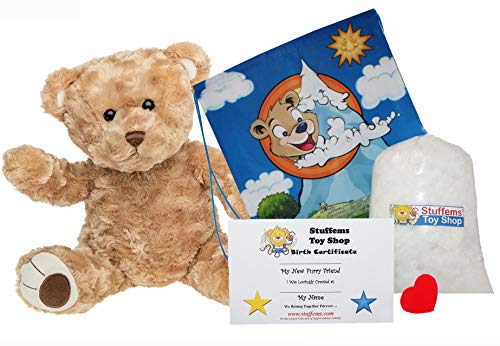 Teddy Bear with Chenille Fur by Build A Furry Friend. Cuddly Soft Plush 16 Inch Stuffed Animal. Handmade quality. With stuffing, star-heart & birth cert. Stuff, zip, hug in 2 min. Voted Best Gift 2015