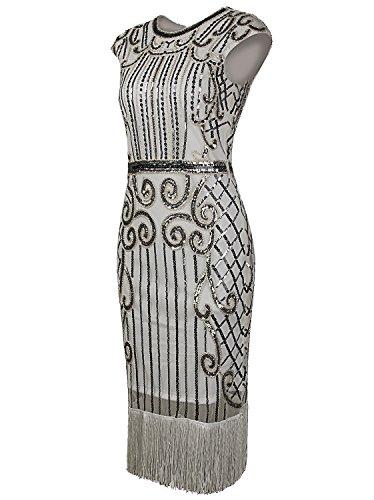 Vijiv 1920s Vintage Inspired Sequin Embellished Fringe Long Gatsby Flapper Dress,Silver White,Small Photo #5