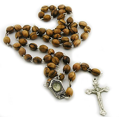Handcarved Olive Wood Rosary Beads with Jordan River Holy Water and Silver Plated Crucifix by Bethlehem Gifts TM