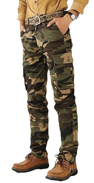 BU2H Men Outdoor Casual Cargo Multi Pocket Straight Leg Pants