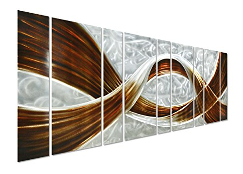 Pure Art Caramel Desire Metal Wall Art, Giant Scale Metal Wall Decor in Abstract Design, 3D Wall Art for Contemporary Decor, 9-Panels Measures 86