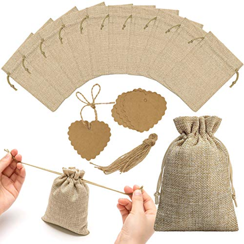 30pcs Burlap Bags with Drawstring and Kraft Paper Tags, Burlap Gift Bag Jewelry Pouch Jute Hessian Sack Linen Packing Storage for Wedding Party Birthday Holiday Treat DIY Art Craft Christmas -