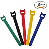#8: CandyHome 50Pcs Microfiber Cloth 6-Inch Cable Strap Hook and Loop Reusable Fastening Cable Ties, Multicolor