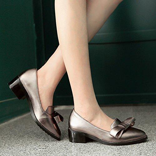 Mee Shoes Damen modern spitz Schleife chunky heel Glattleder Pumps Taupe