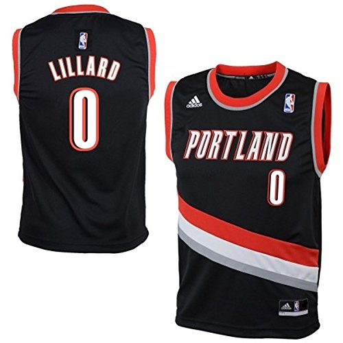 Damian Lillard Portland Trail Blazers #0 NBA Kids 4-7 Road Jersey Black (Kids Medium Size 5/6)