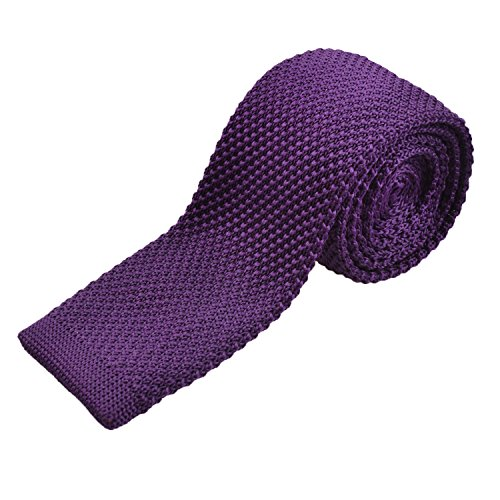 Smart Casual Men's 2 inches Skinny Knit Tie Necktie for Groom, Dark Purple