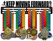Keep Moving Forward Medal Holder Display Rack - 3 Bars Black Coated 3 mm Steel Metal Hanger with Wall Mount St