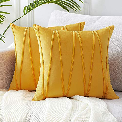 Top Finel Decorative Hand-Made Throw Pillow Covers Soft Particles Velvet Solid Cushion Covers 20 X 20 for Couch Bedroom Car, Pack of 2, Mustard Yellow (Couch Velvet Yellow)