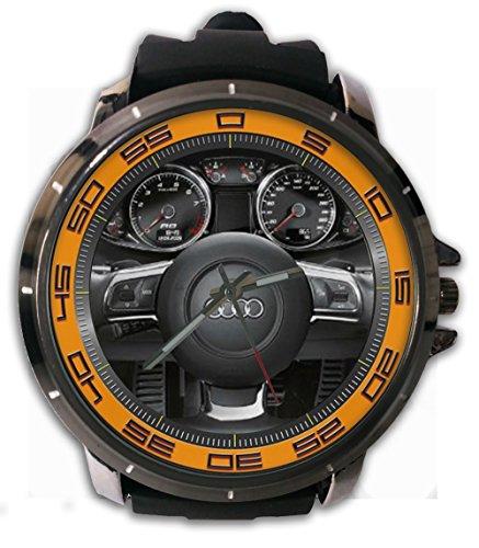 AUDI R8 Steering Wheels Custom Sport Wristwatch Sport Big Face Rubber Band - Wheel Watch