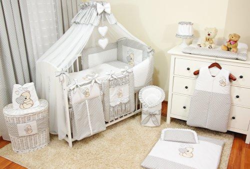 Lux4Kids Kinderbettausstattung Bett Set 135x100 Nestchen Wickelauflage Himmel & Stange Mobile Kopfkissen Spannbettlacken 23 Herz Grau