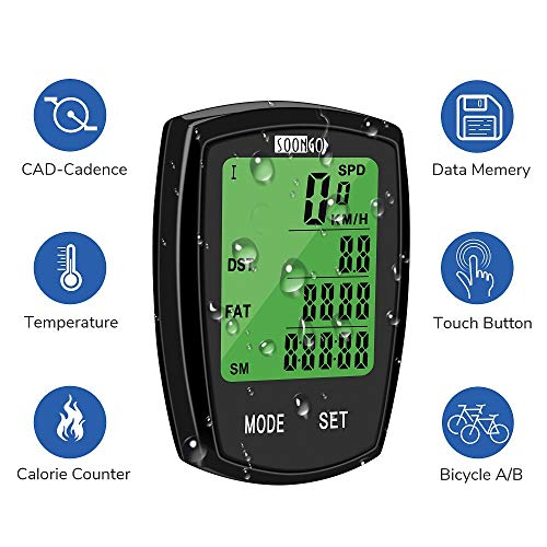 SOON GO Bicycle Speedometer Wireless Bike Computer Cadence IPX6 Waterproof Bike Odometer Speedometer Multi-Functions with Backlight, Temperature, User A/B, Stop Watch, Calorie -