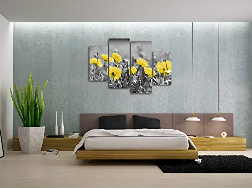 Poppies Field Floral Canvas Wall Art Black White and Yellow