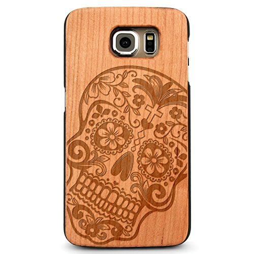 Laser Engraved Wood Case for Apple iPhone Samsung Galaxy Spiritual Floral Sugar Skull Mexican Death Muerto for Galaxy S8 Cherry Case