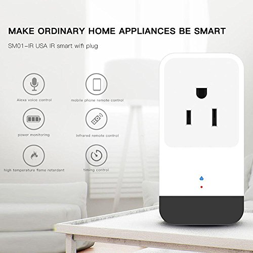 Teepao WiFi Smart Mini Plug IR Control Air Conditioner Works with Alexa and Google Home, Wireless Remote Control Electrical Outlet Switch with Energy Monitoring, Support Voice and Phone App Controlled by Teepao (Image #1)