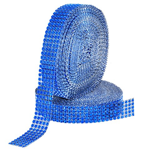 Mandala Crafts Faux Diamond Bling Wrap, Faux Rhinestone Crystal Mesh Ribbon Roll for Wedding, Party, Centerpiece, Cake, Vase Sparkling Decoration (1 Inch 5 Rows 20 Yards 2 Rolls, Blue)
