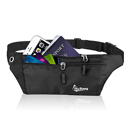 iKuShang Fanny Pack Waist Pack Running Belt Fanny Packs for Women Water Resistant Fanny Pack with Adjustable Strap for Outdoors Traveling Hiking Cycling Fits for All Phones (Black)