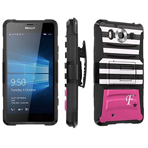 Photo - [SkinGuardz] Case for Microsoft Lumia 950 [Heavy Duty Ultra Armor Tough Case with Holster] - [Black Pink Stripe F Monogram]