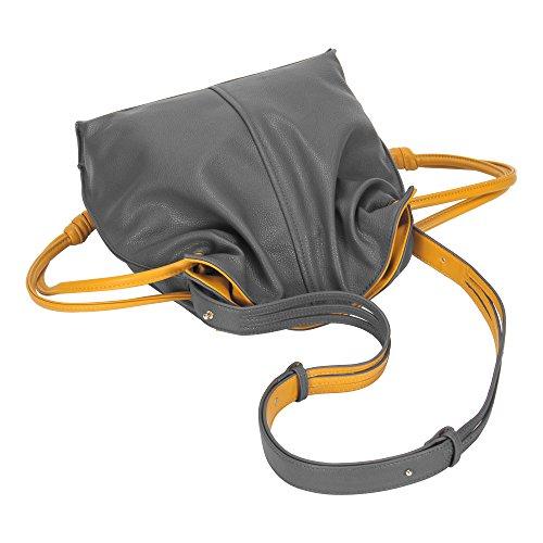 Bucket Bag Bag Drawstring Grey for Women Crossbody Shoulder Leather 4wUCZqx