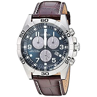 Citizen Men's 'Eco-Drive' Quartz Titanium and Leather Casual Watch, Color:Brown (Model: BL5551-06L)