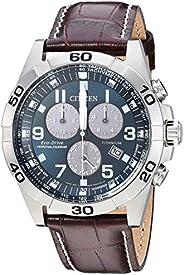 Citizen Men's Eco-Drive Titanium Quartz Brown Leather Calfskin Strap Casual Watch (Model: BL5551-