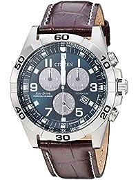 Men's Eco-Drive Titanium Quartz Brown Leather Calfskin Strap Casual Watch (Model: BL5551-06L)