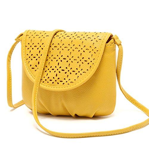 Tongshi 17 cm 15 Yellow Satchel Shoulder Messenger Cross Body Pu Leather 3 Women's Bag rqvnOBrw