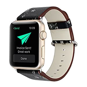 Bracelet for Apple Watch, National Black White Floral Printed Leather Watch Band 38mm 42mm Strap for Apple Watch Flower Design Wrist Watch Bracelet (Black+White flower, 42mm)