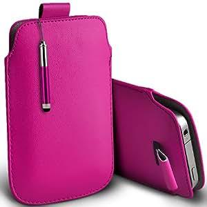 ONX3 Samsung Galaxy Ace 3 S7270 / s7272 Leather Slip cuerda del tirón de la PU de protección en la bolsa Quick Case Desc y Mini capacitivo Retractabletylus Pen (Hot Pink)