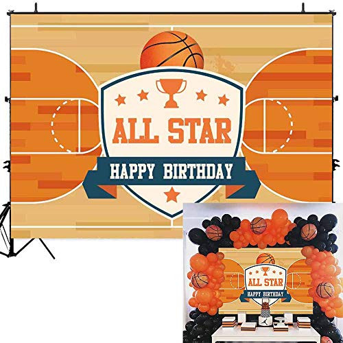 Basketball Birthday Decorations - Allenjoy 7x5ft All Star Basketball Court