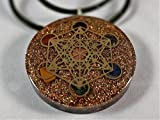 Metatron's Cube Merkaba Seven Chakras with Crystals Stones Orgone Pendant Generator Energy Accumulator EMF Protection. Necklace Included With Pendant!