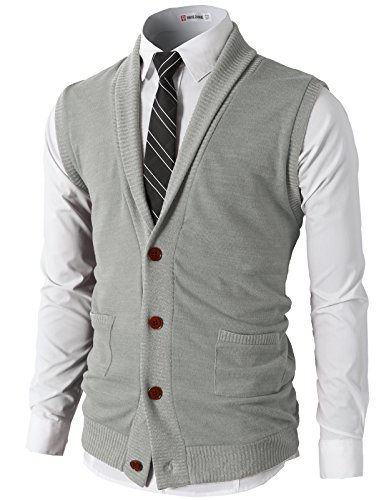 H2H Mens Casual Basic Shawl Collar Knitted Slim Fit Vest Waistcoat Gray US XL/Asia XXL (CMOV034)