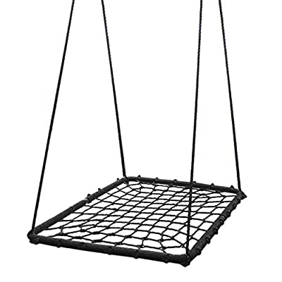 """KHOMO GEAR Extra Large Inches Platform Swing and Spin Set, Black, Rectangular 40"""" x 30"""""""