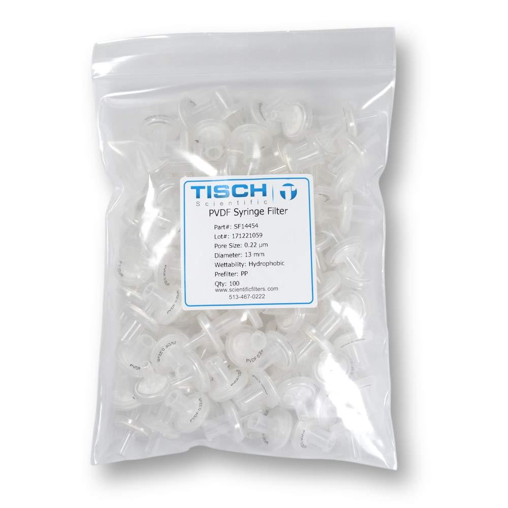 Tisch Brand Nonsterile Polyvinylidene Fluoride PVDF Syringe Filters, 0.22um, 13mm, 100/pk by Tisch Scientific