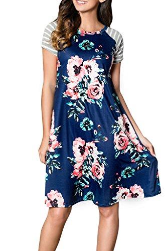 al Casual Short Sleeve A-line Loose T-Shirt Dresses Knee Length Blue Medium ()
