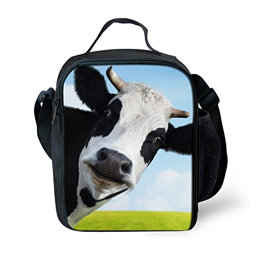 Lunch Box With Shoulder Strap Cow Print Lunch Bag For Boys Portable Food Container Lunch Tote