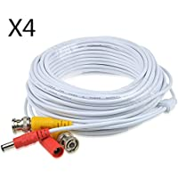 JerGO Professional Grade Siamese Combo Coaxial Cable Pre-made All-in-One BNC Video Power Cable for 1080P /720P, TVI, CVI, AHD and HD-SDI Camera and Analog CCTV Camera ( White 50Ft )(4 Pack)