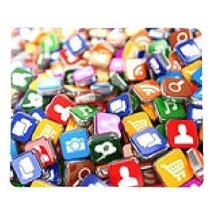 alfombrilla de ratón Software. Smartphone o teléfono móvil iconos de aplicaciones de fondo. - rectangular - 23cm x 19 cm