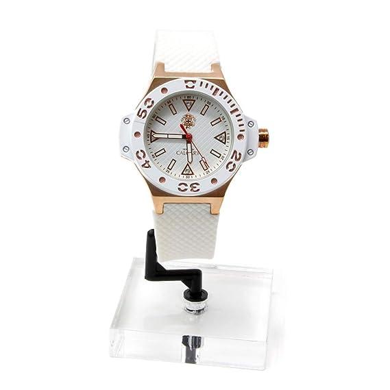 Reloj Calgary, Reloj Portofino Gold White, Correa Blanca con la Caja y Detalles Color Oro, Resistente al Agua: Amazon.es: Relojes