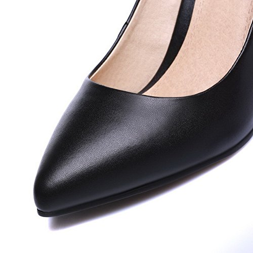 Pointed High Blend Black On Toe Materials WeiPoot Pumps Closed Shoes Pull Solid Heels Women's qYO1Oxt
