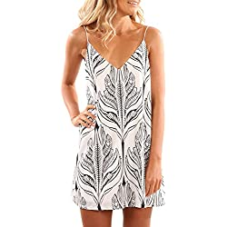 HOTAPEI Women Casual V Neck Summer Dresses For Women Beach Dress Short Spaghetti Straps Mini Dress Sundresses White Black Plant Printed Small
