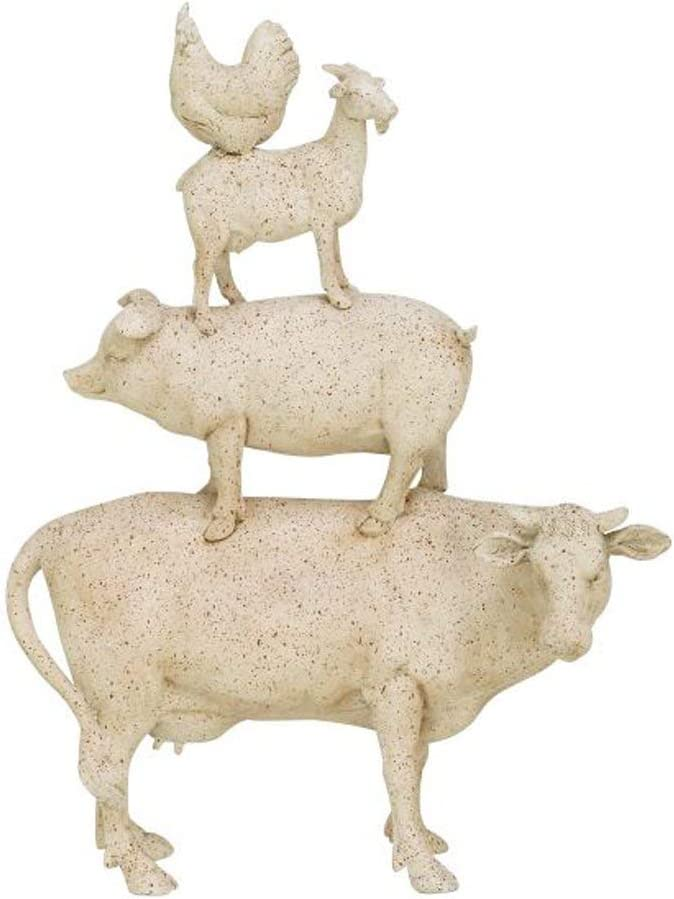 MISC Farm Animal Theme Stacked Figurine, Chicken Pig Goat Cow Garden Statue Yard Sculpture Antique Cream Finish Speckled Brown, Farmhouse Rustic Country Hen Ivory, Polystone Resin 14