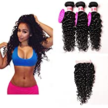 """Perstar Hair 7A Grade Water Wave 3 Bundles Closure Uprocessed Virgin hair with 4""""4"""" lace closure free part (16 18 20 +16 free part, Natural Color)"""