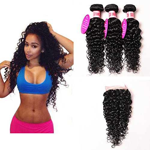 Perstar Hair 7A Grade Water Wave 3 Bundles Closure Uprocessed Virgin hair with 4''4'' lace closure free part (16 18 20 +16 free part, Natural Color) by Perstar Hair