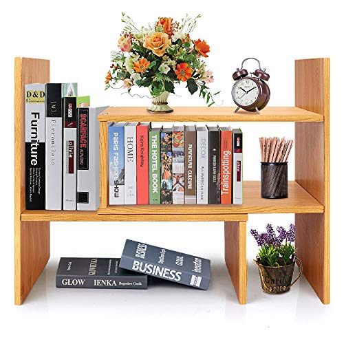 Wood Desktop Purpose Organizer Multi (Adjustable Desk Storage Organizer Display Shelf Rack Counter Top Bookcase Free Style Display Shelf Rack Office Supplies Storage Shelf Book Rack Multipurpose Bookshelf for Office Kitchen)