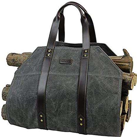 Log Carrier Waxed Canvas Log Holder Firewood Carrier Tote Bag Fireplace Wood Stove Accessories Grey Home Kitchen