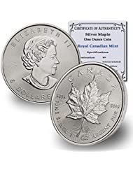 1988 CA - Present (Random Year) Canada 1oz Silver Maple Leaf $5 Brilliant Uncirculated w/COA by CoinFolio $5 BU