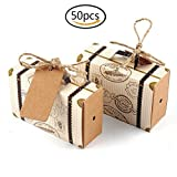 Hondex Suitcase Candy Gift Box 50 Pcs Mini Suitcase Carton Gift Bags for Wedding Birthday Party Sweet Chocolate Boxes Christmas Decoration