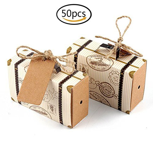 Hondex Suitcase Candy Gift Box 50 Pcs Mini Suitcase Carton Gift Bags for Wedding Birthday Party Sweet Chocolate Boxes Christmas Decoration by Hondex